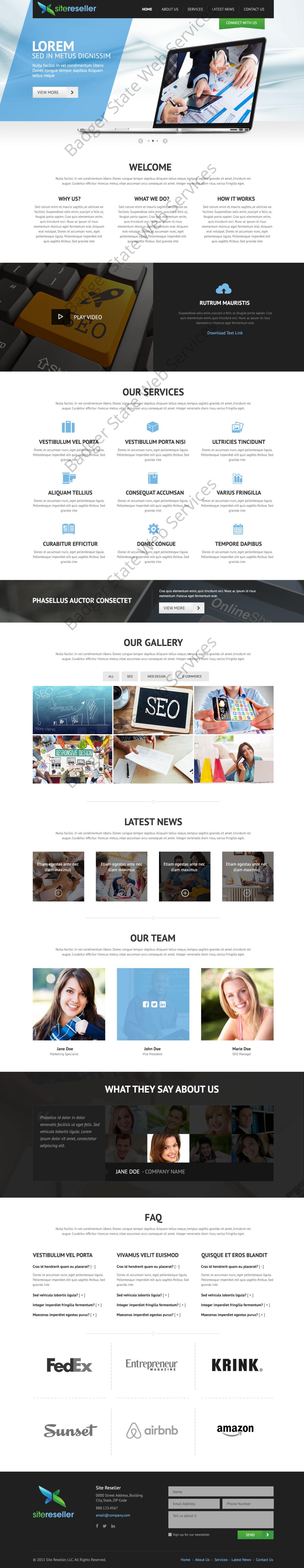 General Service Web Design Mockup-J
